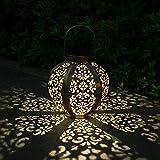 Solarleuchten im Freien hängende Solarlaternen Solar Gartenleuchten im Freien wasserdichte Gartengeschenke Gartenornamente im Freien Retro dekorative LED warmweißes Licht für Patio, Rasen, Hof (Gold)