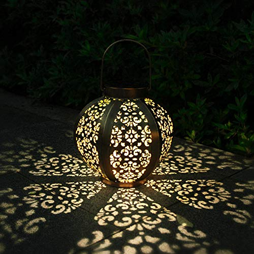 Solar Lights Outdoor Hanging Solar Lanterns Solar Garden Lights Outdoor Waterproof Garden Gifts Garden Ornaments Outdoor Retro Decorative Solar Light LED Warm White Light for Patio, Lawn,Yard