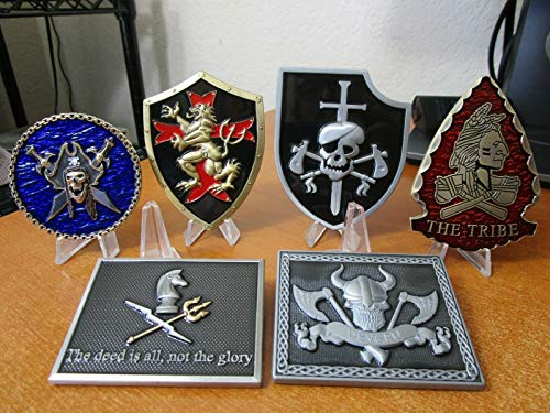 Set of Six Navy Seal Team Six Challenge Coins DEVGRU Squadrons Blue, Gold, Red, Silver, Grey & Black