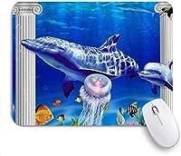 マウスパッド 個性的 おしゃれ 柔軟 かわいい ゴム製裏面 ゲーミングマウスパッド PC ノートパソコン オフィス用 デスクマット 滑り止め 耐久性が良い おもしろいパターン (アンダーウォーターワールドイルカの熱帯海洋生物)