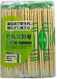 大和物産 割り箸 竹 丸 完封箸 楊枝付き 約長さ20cm×直径5mm 個包装で衛生的 割らずに使える 100膳入