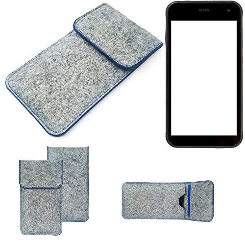 K-S-Trade Handy Schutz Hülle Für Cyrus CS 22 Schutzhülle Handyhülle Filztasche Pouch Tasche Hülle Sleeve Filzhülle Hellgrau, Blauer Rand