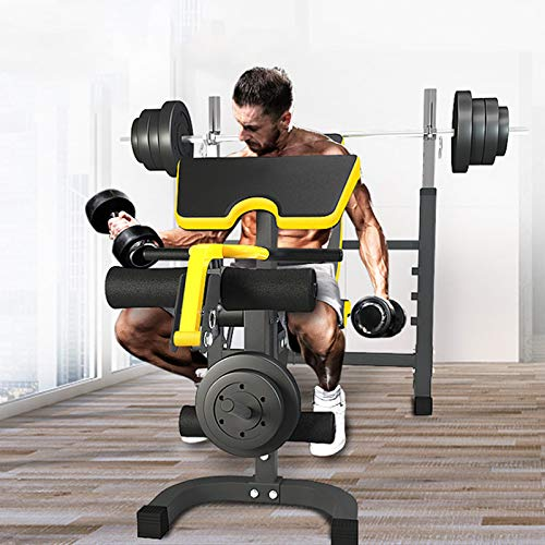 HWGNT Multifunctional Squat Barbell Rack, Adjustable Weight Bench Strength Training Bench 600LBS Max Load for Home Fitness Gym Exercise Sports (Excluding Barbells and Dumbbells)