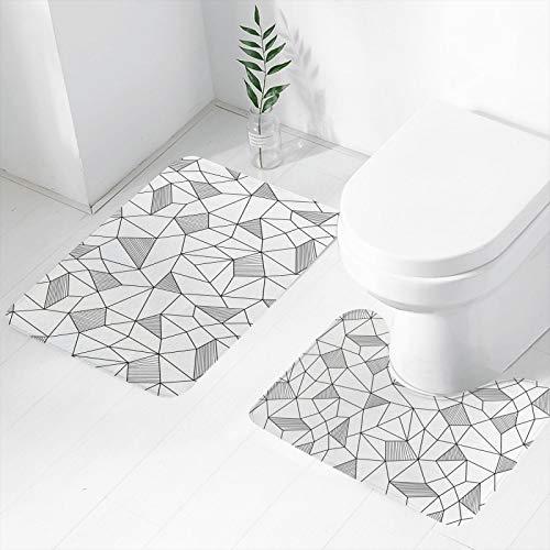 Surreal Doodle Drawing Style 2 Piece Bath Mat Non Slip Bath rug U-Shaped Contour Shower Mat, Soft & Comfortable Bathroom Mat For Floor Tub Shower Bedroom