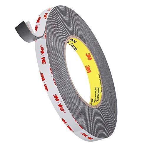 3M Hochleistungs-Doppelseitenband, Roseberry VHB-Band 9,6 m Länge , 1,1 mm Dicke, 12,7 mm Breite, wasserdichtes Montageband für Auto, Wohnkultur, Bürodekor
