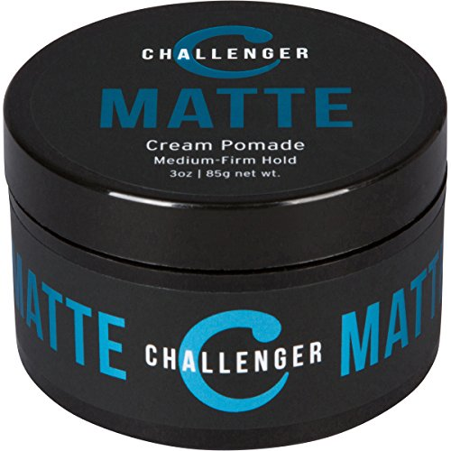 Matte Cream Pomade - Challenger 3oz - Medium Firm Hold - Water Based, Clean & Subtle Scent,...