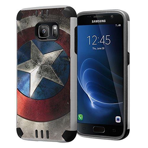 Galaxy S7 Case, Capsule-Case Hybrid Dual Layer Slim Defender Armor Combat Case (Silver & Black) Brush Texture Finishing for Samsung Galaxy S7 SM-G930 SMG930 - (Rock Star)