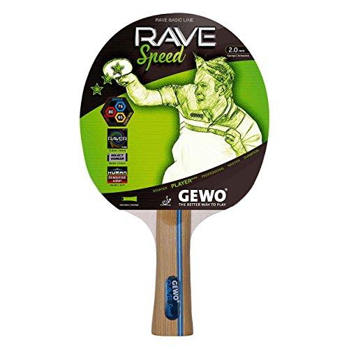 GEWO Tischtennisschläger Speed konkav mit den neuen 2, 0mm dicken Raver Belägen, Braun, One Size