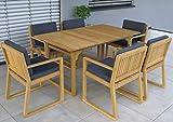 vanvilla Gartenmöbel Set Holz Sitzgruppe Garten Garnitur 1 Tisch 6 Sessel SET4
