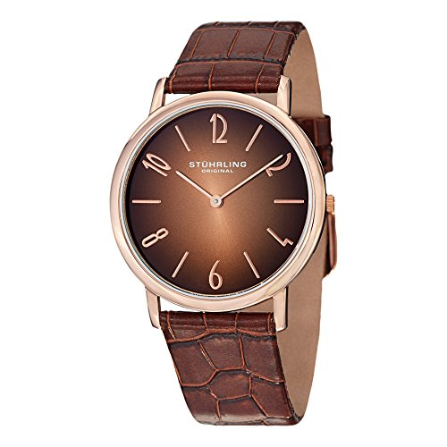Stuhrling Original Men's 140A.03 'Cuvette Contra' Rose Gold-Tone Stainless Steel and Brown Leather Band Ultra-Slim Watch