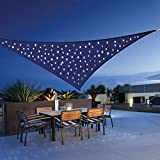 Quace Sun Shade Triangle Cover Patio Garden Outdoor Canopy with 120 LED Night Solar Lights (Blue)