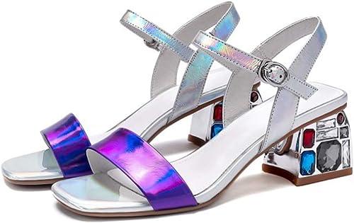 Sandales en Cuir Europe et Les états-Unis Sandales à la Mode de la Boucle a augHommesté Chaussures à Talons hauts-argent-41