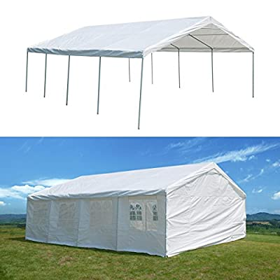 GOJOOASIS 20 x 26 ft Carport Heavy Duty Outdoor Metal Commercial Wedding Party Frame Tent w/Sidewalls 4 Rooms