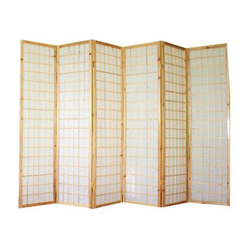 PEGANE Biombo japonés Shoji de Madera Natural de 6 Paneles
