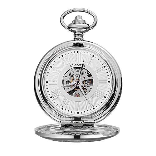 WFDA Reloj de Bolsillo con la Cadena Reloj Reloj mecánico de Cuerda Manual en Perspectiva Inferior de la Cubierta de los Hombres del Reloj de Bolsillo Impermeable automática