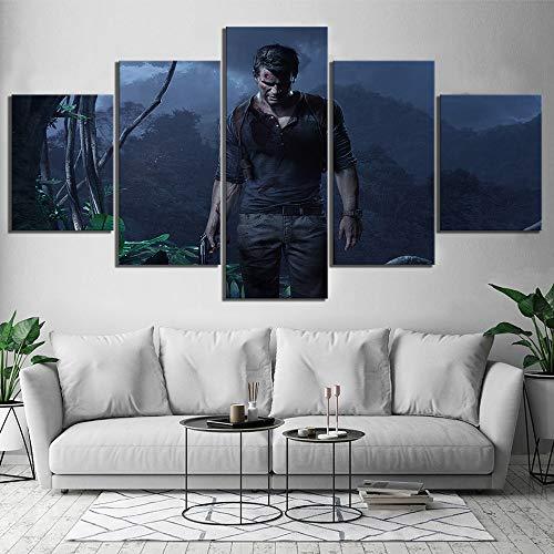 AMOHart Leinwanddrucke Moderne Wandkunst 5 Stück Uncharted Spiel Nathan Drake Home Decor Poster Wohnzimmer Drucke auf Leinwand Rahmen