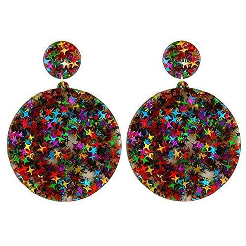 regalos Pendientes Colorido Bling Lentejuelas Estrella Resina acrílica Pendientes colgantes Para mujeres Geometría Pendientes redondos con brillo Acetato BrincosColorido