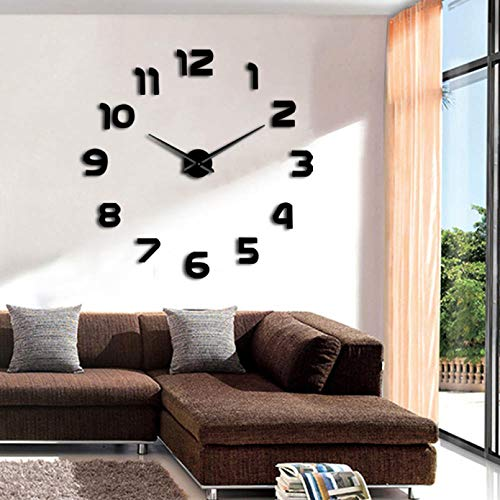 N / A PYIQPL Simple Analog Surface Large Arabia Numerals Clock Wall Sticker 3D Mirror DIY Wall Clock Watches Home Reloj Pared Adhesivo 47inch (black)