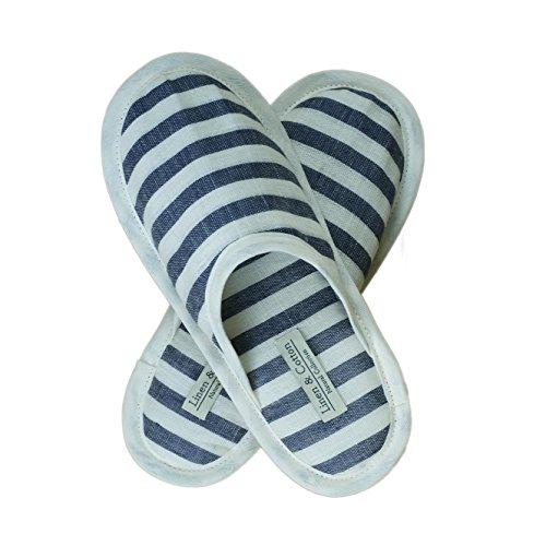 Linen & Cotton Damen Erwachsene Gäste Weich, Leicht Hausschuhe/Pantoffeln/Gästehausschuhe/Slippers AKIRO, 100% Leinen - Eur 39-40 (Milch-Weiß/Denim-Blau)