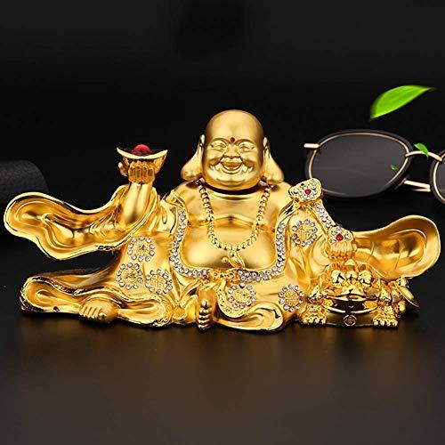 J-Clock Estatuas Feng Shui Buda riendo para la Buena Suerte, Riqueza y Felicidad, Dios la Riqueza con Adorno Escultura lingotes Oro y RU Yi, decoración Mesa Coche, Oro