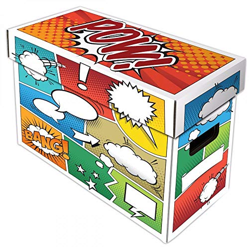 BCW Art POW! Short Comic Storage Box | Holds 150-175 Comics| Double-Walled Corrugated Cardboard | (1-Pack)
