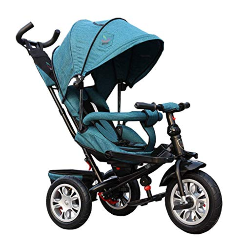Review Pushchair 3-in-1 Baby Stroller Tricycle Bike Carbon Steel Frame Kids' Trike with Clutch and S...