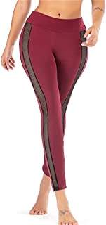 Jinqiuyuan Yoga Pants Styles Sexy Print High Waist Seamless Yoga Leggings Stretch Yoga Pants Running Sports Leggings (Color : Red, Size : M)