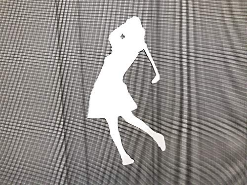 DCentral Woman Golfer Screen Magnet Decor; for Non-Retractable Screens, Multipurpose, Double-Sided, Helps to Stop Walking into Screens, Covers Small tears in Screens, Size W 4