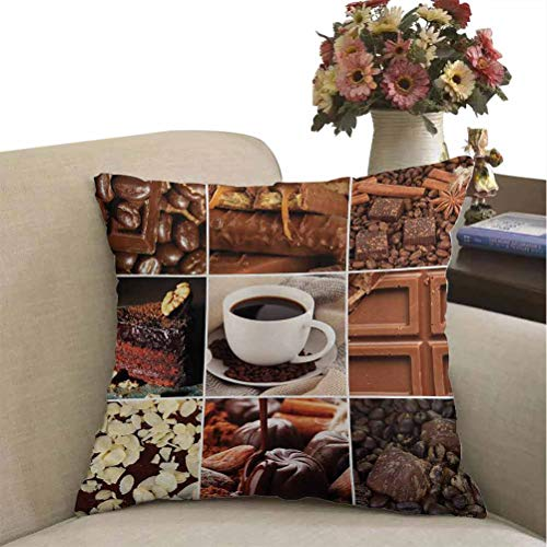 prunushome Brown Pillow Cover Decor Coffee and Chocolate Tasty Collage Beans Mugs Snacks Pastries Espresso Cocoa Composition Decorative Pillow Shams Brown Super Soft Fashion Best Gifts 18 x 18 inches