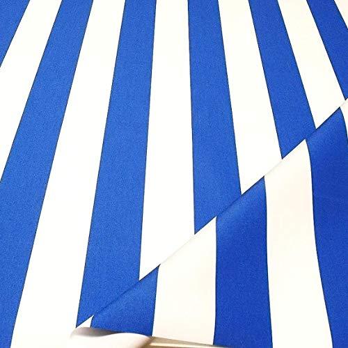 TOLKO Sonnenschutz Markisen-Stoffe als Meterware Zum Nähen mit UV-Schutz 50+ | Wasserdicht, Extra Langlebig - Ohne Ausbleichen (Blau Weiß)
