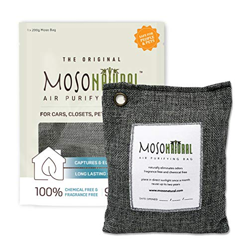 Moso Natural: The Original Air Purifying Bag. for Cars, Closets, Bathrooms, Pet Areas. an Unscented, Chemical-Free Odour Eliminator. 200g (Charcoal)