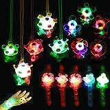 HOWAF 15pcs Articulos de Fiesta Niño Regalos piñatas de cumpleaños Infantiles Incluye Niños Brillante led Pulseras Collar Anillo Juguetes para Navidad Infantil cumpleaños Regalo Niño, Niña