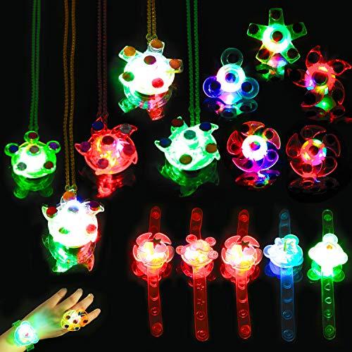 HOWAF Kindergeburtstag gastgeschenke 15 stücke LED blinkende Ringe Leuchtringe Halskette blinkleucht Armbänder für Kinder Jungen mädchen Party Mitgebsel Kindergeburtstag Gastgeschenke