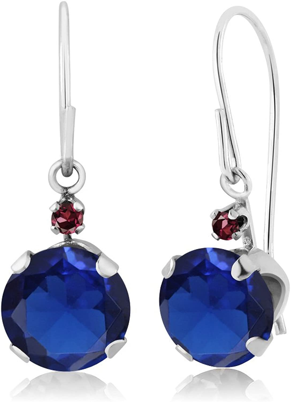 2.05 Ct Round bluee Simulated Sapphire Red Rhodolite Garnet 14K White gold Earrings