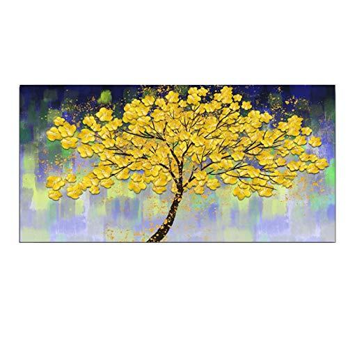 Impresión en lienzo Pintura de lienzo moderna Golden Yellow Rich Tree Flower Plant Art Posters e impresiones Imagen de pared Sala de estar Decoración para el hogar 50x100cm / 19.6 'x39.4' Sin marco