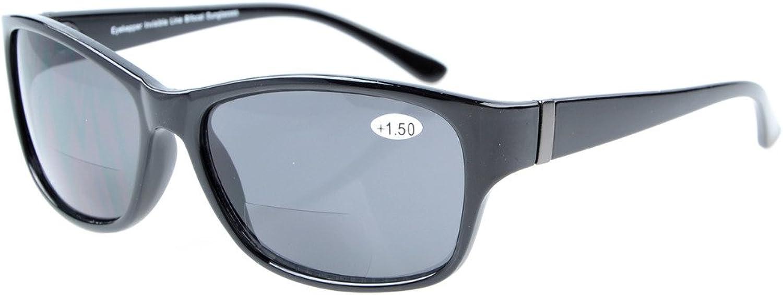Eyekepper Bi-Focal SunReaders Fashion Bifocal Sunglasses Black Frame Grey Lens +2.50