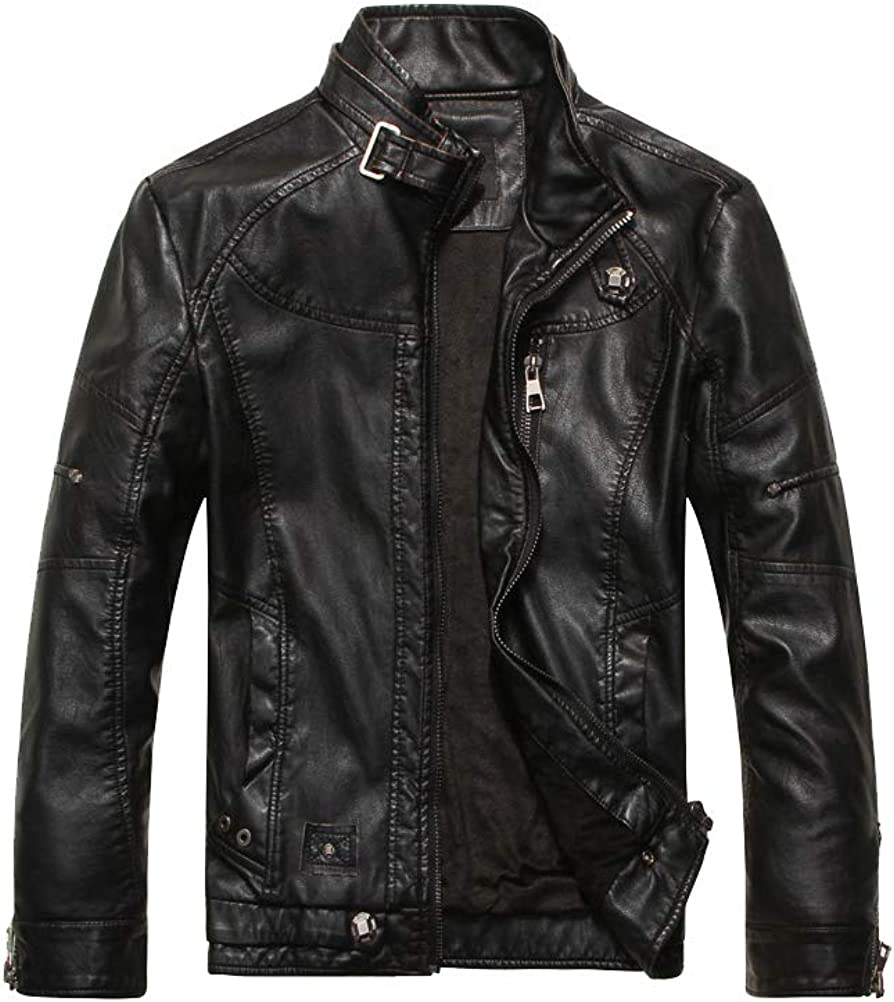 PASOK Men's Faux Leather Superlatite Jacket Motorcycle Stand Vintage Max 58% OFF Collar