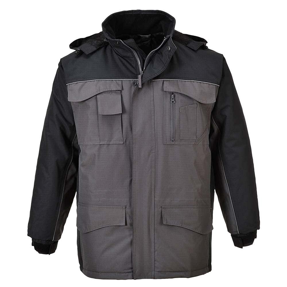 Portwest Workwear Mens Ripstop Parka BkGrey Large