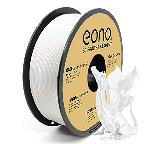 Amazon Brand - Eono Silk PLA Filamento para Impresora 3D, 1.75mm, 1kg, Color Blanco, Impresiones con Acabado Brillante y Nacarado de aspecto Sedoso, Apropiado para Piezas Decorativas.