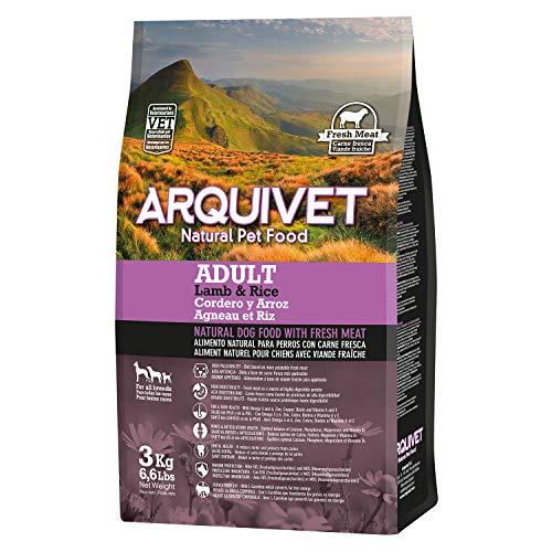 Arquivet Pack 4 Unidades de pienso Natural para Perros con Carne Fresca 3 Kg - Cordero y arroz - Comida Natural para Perros - Alimentación Canina para Adultos