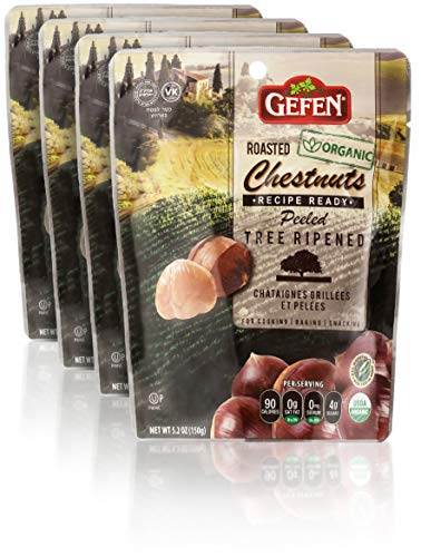 Gefen Organic Whole Roasted and Peeled Chestnuts 5.2oz (4 Pack)