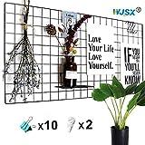 WJSX Grid Wall,DIY Eisen Gitter der Fotowand,Eisen Gitter Pinnwand Foto Wand,Dekoration Pinnwand...