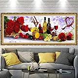 5D DIY Diamond Painting Kit Grande Completo Copa de vino rosado,Pintura Diamante de imitación Adultos Bordado Punto de Cruz Mosaico Art Crafts for Home Wall Decor Round Drill_(30X60cm,12x24inch)