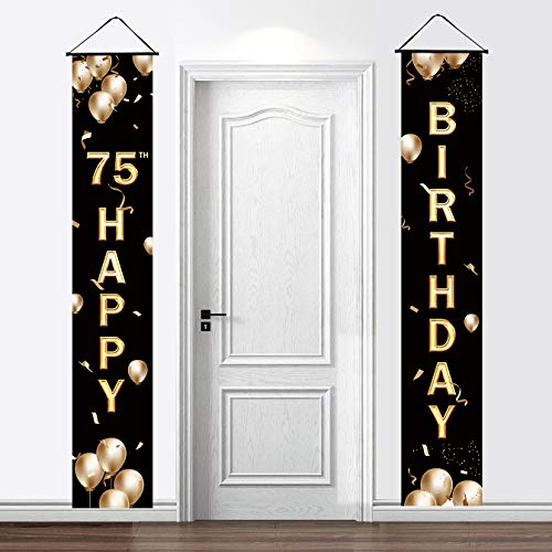 2 Pieces Happy 75th Birthday Door Banner Decorations - 75th Birthday Party Porch Welcome Sign Banner Hanging Yard Signs for Indoor Outdoor Decorations Supplies(Black Gold)