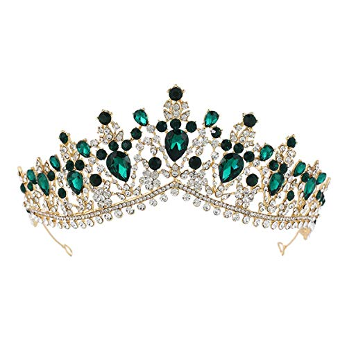 LURROSE 1 UNID gran rhinestone corona nupcial tocado de boda coronas coronas...