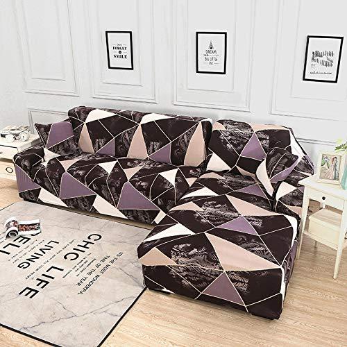 WXQY Funda para sofá Chaise Longue Funda para sofá de Sala de Estar Funda elástica para sofá a Prueba de Polvo con Todo Incluido Funda para sofá en Forma de L A23 2 plazas