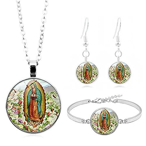 Revilium Dios Bendiga La Rosa De La Virgen María, Cabujón De Cristal, Conjunto De Joyas, Collar, Pulsera, Pendientes, Conjuntos De Joyas para Mujeres