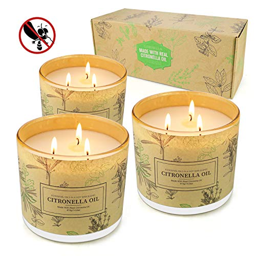 Citronella Candles Outdoor, 14.6 Oz Large Citronella Scented Candles with Pure Lemongrass Essential Oil and Natural Soy Wax Outdoor Indoor, Mosquito Hateful 3 Pack