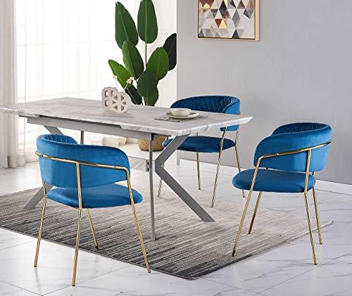 Conjunto de comedor de diseño – Mesa de comedor con aspecto de mármol blanco + 4 sillas azules – Estilo contemporáneo – Mesa extensible