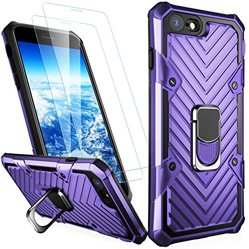 MERRO iPhone 8 Plus Case,iPhone 7 Plus Case with Screen Protector,Pass 16ft. Drop Tested Military Grade Cover with Magnetic Kickstand,Protective Phone Case for Apple iPhone 7 Plus/8 Plus Purple